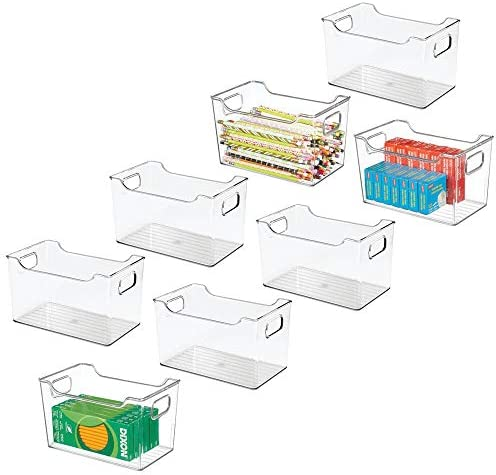 mDesign Plastic Home, Office Storage Organization Bin Basket with Handles – for Cabinets, Closets, Drawers, Desks, Tables, Workspace – Cube – 10 Inches Wide, 8 Pack – Clear