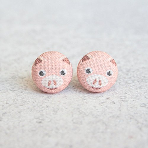 Pig Fabric Button Earrings ()