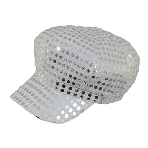 Silver Sequined Newsboy Cabbie Costume Hat]()