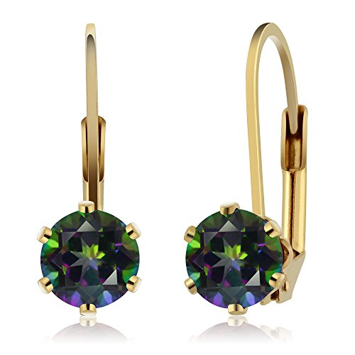 - Gem Stone King 2.00 Ct 6.00MM Round Mystic Topaz Gemstone Gold Plated Leverback Earrings