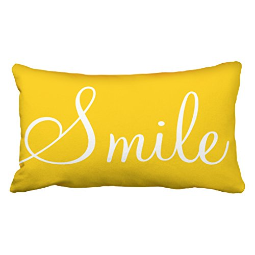 Tarolo Decorative SMILE Sunshine Yellow Decorative Lumbar Pillowcase Pillow Covers Size 20x36 inches(51x92cm) One Sided ()