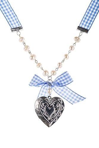 Trachtenkette Medaillon - Amulett zum Öffnen - Trachtenschmuck Blau oder Rot - Trachten Schmuck für Dirndl und Lederhose (Blau)