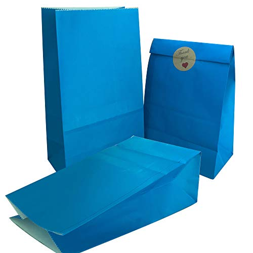 Party Bag 50 pcs Food Safe Kraft Paper and Ink, Natural (Biodegradable), Vivid Colored Candy Cookie Buffet Bags, Bottom Square Bag.Blue.with 48 pcs Thank You Stickers 1.5 inch.