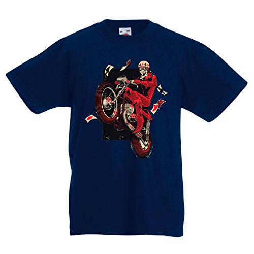 T Shirts For Kids Motorcyclist - Motorcycle Clothing, Vintage Designs Retro Clothing (7-8 Years Dark Blue Multi Color) (Rectangle Magnet Veggies)