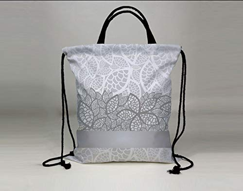 3D Print Drawstring Bag String Backpack,Silver,Lace Inspired Flower Motifs Bridal Composition Stylized Leaves Wedding Theme Decorative,Gray Silver White,for Travel Gym School Beach -