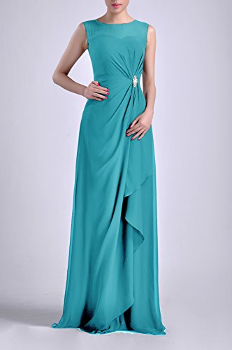 Dress Natrual Adorona Sheath Long Straps Sleeveless Women's Cyan Bateau Chiffon Eqqx8BP