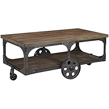 Bowery Hill Industrial Cart Coffee Table In Distressed Gray And Brown
