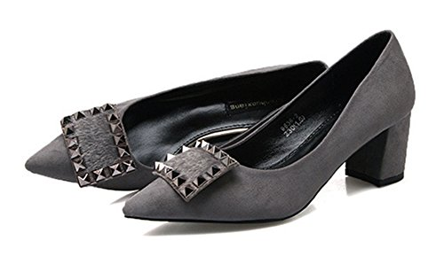 Easemax Womens Korean Pointed Toe Low Cut Suede Chunky Kitten Heels Pumps Shoes with Rivits Gray GOGVAe3