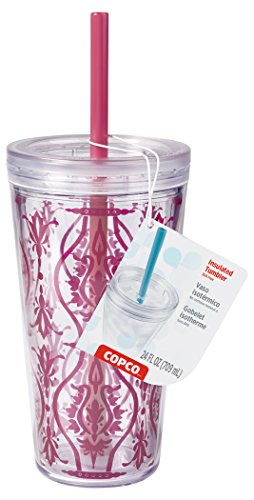 Copco Minimus Tumbler with Straw, 24-Ounce, Damask Red