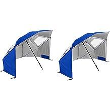 Sport-Brella Super-Brella 8-Foot Portable Sun Shelter Weather Umbrella, Blue (2 Pack)