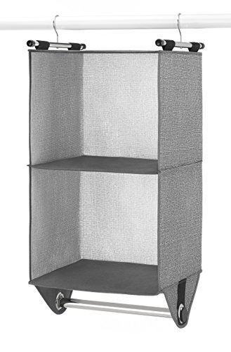 Clothes Rod Hanging (Whitmor 2-Section Closet Organizer - Crosshatch Gray)