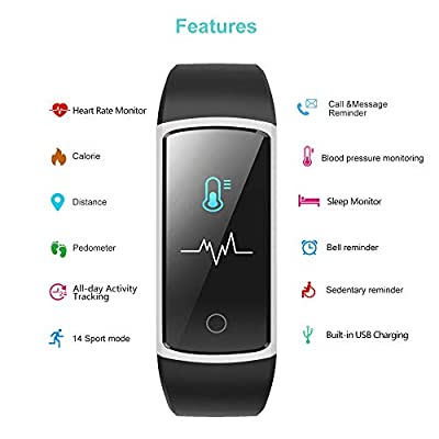 YAMAY Fitness Tracker with Blood Pressure Monitor Heart Rate Monitor,IP68 Waterproof Activity Tracker 14 Mode Smart Watch with Step Counter Sleep Tracker,Fitness Watch for Women Men Kids 2019 Version from YM USA