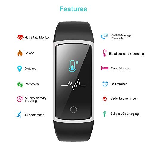 YAMAY Fitness Tracker with Blood Pressure Monitor Heart Rate Monitor,IP68 Waterproof Activity Tracker 14 Mode Smart Watch with Step Counter Sleep Tracker,Fitness Watch for Women Men Kids (Gray)