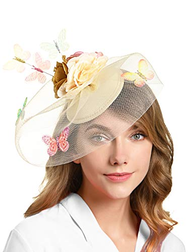 Tea Party Hat for Women Fascinators Kentucky Derby Wedding Hair Clip Headpiece with Butterfly (2-Beige and Gold)