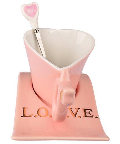 Heart-Shaped Bone China Pink Tea Cup and Saucer Set with Spoon-Coffee Cup-Coffee Mug-7 oz