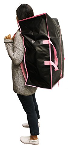 Earthwise Extra Large Reusable Storage Bags Totes Container Backpack Handles w/Zipper closure in Matte Black with Pink Trim Great for MOVING, Compatible with IKEA Frakta Carts (SET OF 4) by Earthwise (Image #5)