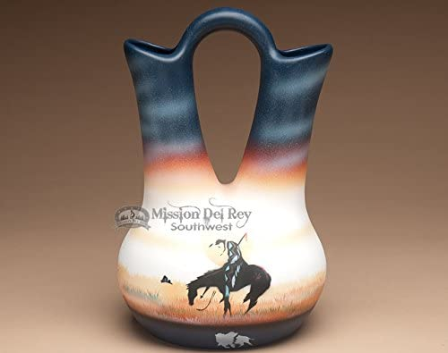 Mission Del Rey Native American Pottery -Authentic Navajo Indian Vases, Bowls, Figurines, Wedding Vases Jewelry Boxes -Hand Painted, for Rustic Southwest Decor. End of Trail, 12 Wedding Vase