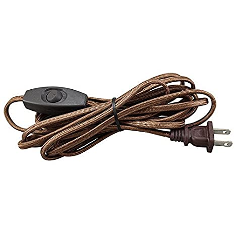 Rayon Covered Lamp Cord Set - Brown - 12 ft. - SPT-1 - Toggle Switch ...