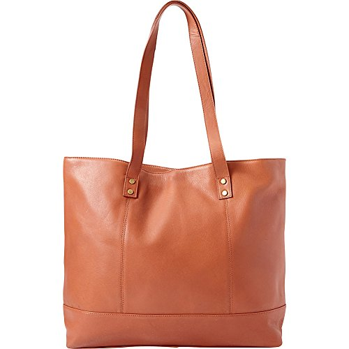 Bellino Women's Miranda Leather Tote Shoulder Bag, Cognac, One Size (Bellino Leather Tote)