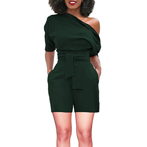 vermers Women's Short Romper - Sexy Off Shoulder Ruffle Fashion Casual Jumpsuit(S, Green)
