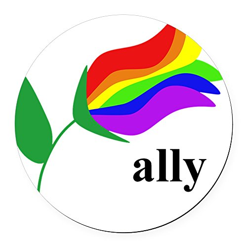 CafePress - Ally Flower On Clear With Black T - Round Car Magnet, Magnetic Bumper Sticker