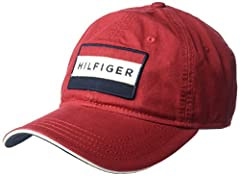 Tommy Hilfiger dad hat featuring our classic Hilfiger flag logo twill applique patch with embroidery. Adjustable metal buckle closure. Six-panel construction with ventilating grommets. This Tommy Hilfiger hat is a versatile staple. Perfect fo...