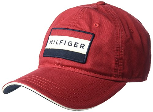 Tommy Hilfiger Men's Cole Dad Hat, core red, One Size