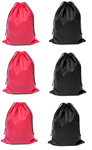Shoe Bags /Drawstring Bag Multipurpose Bag(Pack of 6-3 Black,3 Red)
