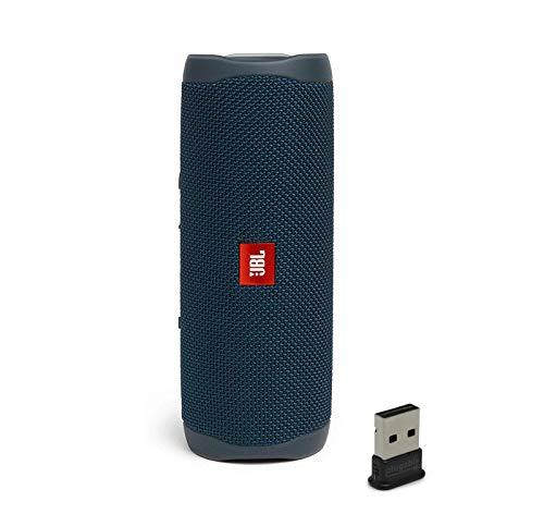 JBL Flip 5 Waterproof Portable Wireless Bluetooth Speaker Bundle with USB 2.0 Bluetooth Adapter - Blue