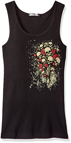 Chick Tank Top - Hot Leathers Skull Bouquet Ladies Tank Top (Black, X-Large)