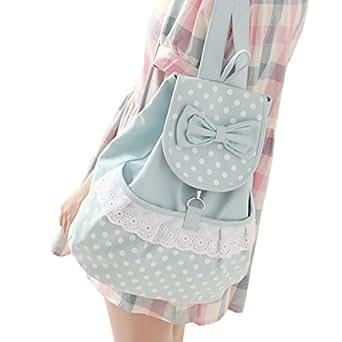 0472bb1b10 Amazon.com  DGQ Kawaii Backpack Canvas Cute Polka Dot Bow Lace ...