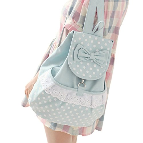 - DGQ Kawaii Backpack Canvas Cute Polka Dot Bow Lace Bookbags Schoolbag Satchel School College Bag Rucksack for Girls Women
