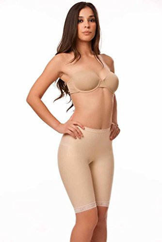 Isavela Womens 2nd Stage Low Waist Abdominal Girdle Above Knee Length With NO Zippers LG Beige