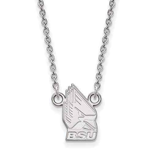 - 10k White Gold Ball State University Cardinals Charlie Mascot Pendant Necklace 12x9mm 18 Inches