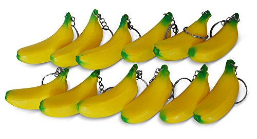 (Novel Merk Yellow Banana 12-Piece Fruit Keychains for Kids Party Favors & School Carnival Prizes)