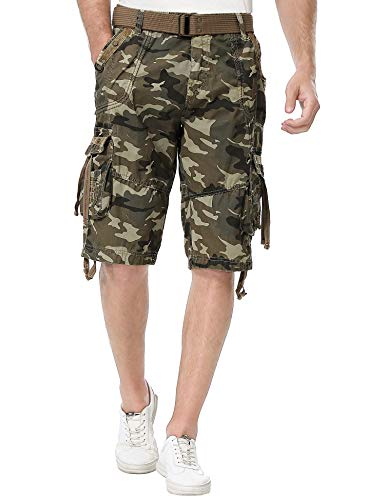 TWO BLOCKS OFF Mens Multi-Pocket Camo Cargo Shorts Casual Loose Fit Belted Ripstop Basic Cargo Short (36, Blonde Sand Camo) ()