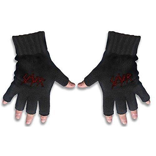 [해외]슬레이어 핑거리스 장갑 : 긁힌 로고 - 블랙 -/Slayer Fingerless Gloves: Scratched Logo - Black -