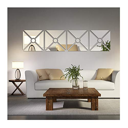 Multipieces =4 Squares DIY Acrylic Mirror Wall Sticker Living Room Dinging Room Bedroom Decor Art 3D Mirrored Wall Decals Removable Home Decoration adesivo de parade (Silver 40*160cm) ()
