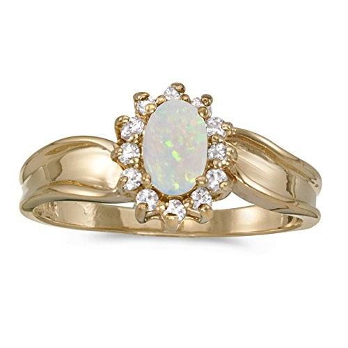 (0.33 Carat ctw 14k Gold Oval White Opal & Diamond Bypass Halo Fashion Cocktail Anniversary Ring - Yellow-gold, Size 7.5)