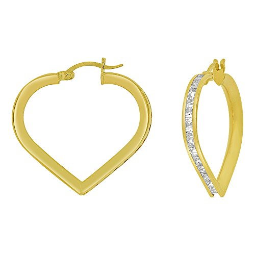 14k Yellow Gold, Heart 3mm Channel Set Created CZ Earring 25mm Inner Diameter by GiveMeGold