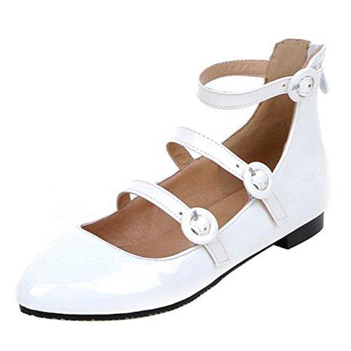 Size Court Asian Strap Ankle Shoes Flat Fashion TAOFFEN White 32 Pumps Women's Zipper wn7v6xY
