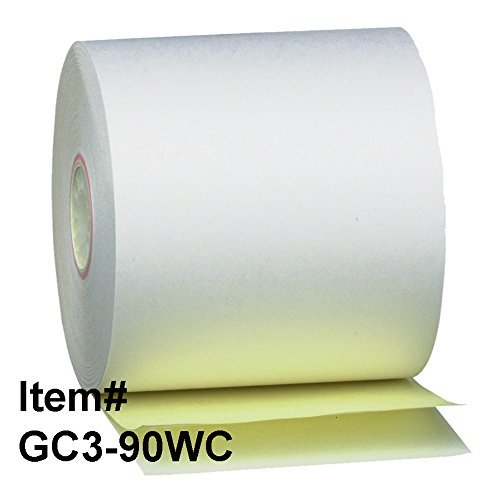 Gorilla Supply 3 X 90ft 2ply Carbonless Paper Roll, 50 Ro...