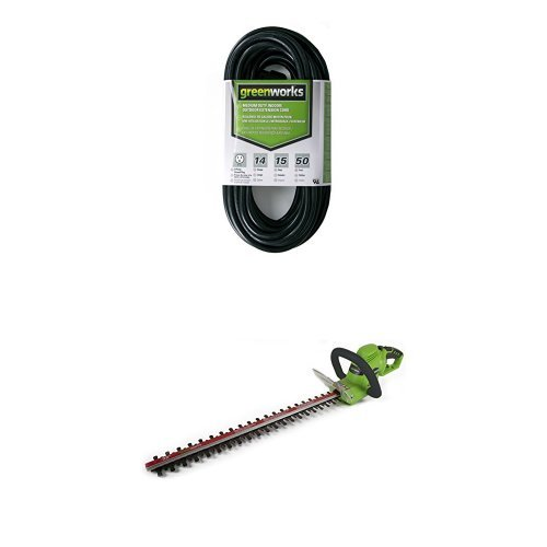 GreenWorks HT04B00 4 AMP 22-Inch Corded Hedge Trimmer and 50 Indoor Outdoor Extension Cord