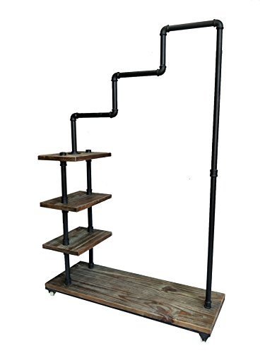 Diwhy Industrial Pipe Clothing Rack Pine Wood Shelving Shoes Rack Cloth Hanger Pipe Shelf 4 Layer by Diwhy (Image #3)