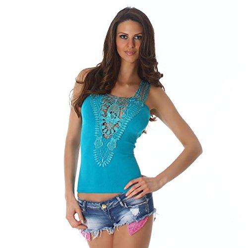 Unbekannt - Camiseta - Básico - Sin mangas - para mujer petróleo