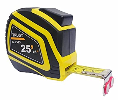 Trust Measuring Tape Measure 25 Foot by 1 Inch, Imperial and Metric, Auto Lock, Lifetime Warranty, Magnetic Hook, Heavy Duty Nylon Bonded Blade by Trust