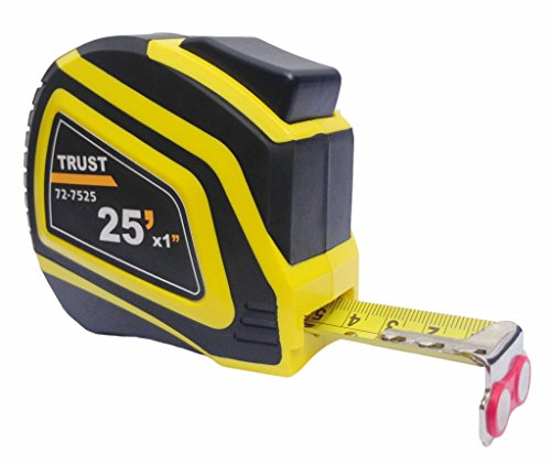Trust Measuring Tape Measure 25 Foot by 1 Inch, Imperial and Metric, Auto Lock, Lifetime Warranty, Magnetic Hook, Heavy Duty Nylon Bonded Blade