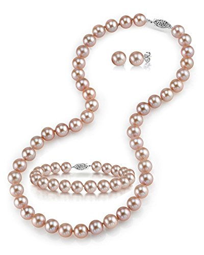 THE PEARL SOURCE 14K Gold 7-8mm Round Pink Freshwater Cultured Pearl Necklace, Bracelet & Earrings Set in 18
