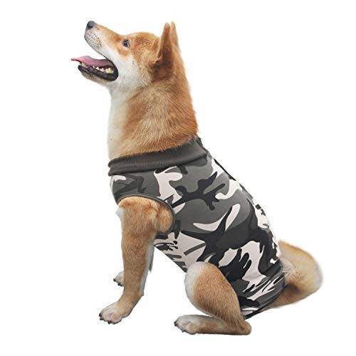 CROWNY Professional Recovery Suit for Dog Abdominal Wounds or Skin Diseases, After Surgery Wear, E-Collar Alternative for Cats Dogs, Home Indoor Pets Clothing (XXL, Camo)