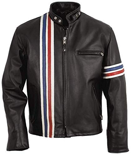 Peter Fonda Easy Rider American Style US Flag Motorcycle Leather Jacket-Black (XL)